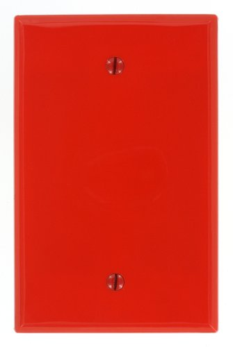 Blank Red Nylon - Leviton PJ13-R 1-Gang Blank Wallplate, Midway Size, Red
