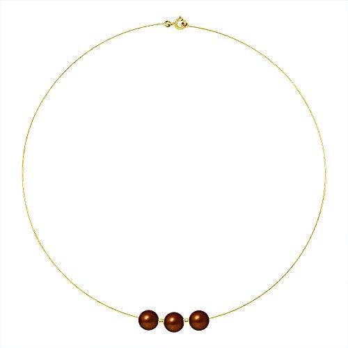 Pearls & Colors - Collier avec pendentif - Or jaune 9 cts - Perle d'eau douce - 42 cm - AM-9CC 107 3R9J-CHO