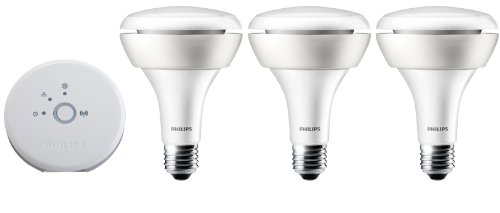 Philips Hue White and Color Ambiance 1st Generation BR30 Starter Kit (Older Model, 3 BR30 Light Bulbs and Bridge, Works with Alexa, Apple HomeKit and Google Assistant) For Sale