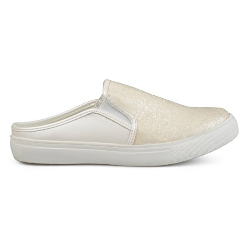 Brinley Co Womens Glitter Faux Leather Slide Sneakers White