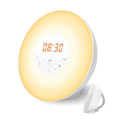 Wake Up Light, Nature Light Sunrise Simulation Alarm Clock Touch Control Night Light for Bedrooms, Snooze Function Wake-Up Light with USB Charger FM Radio for Heavy Sleepers(6640)