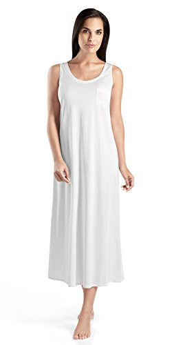 Mercerized Cotton Tank (Hanro Women's Cotton Deluxe Long Tank Gown, White, Large)