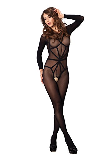 Opaque Long Sleeve - Leg Avenue Women's 2 Piece Opaque Long Sleeve Bodystocking with Harness Teddy Overlay, Black, One Size
