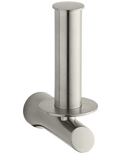 Kohler K5673BN Toobi Vertical Single Post Toilet Paper Holder, Vibrant Brushed Nickel Brushed Chrome Pop
