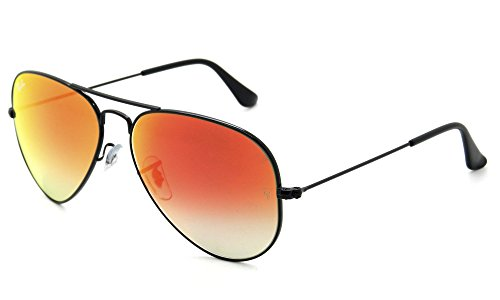Ray-Ban RB3025 Aviator Large Metal Unisex Sunglasses (Shiny Black Frame/Mirror Gradient Red Lens 002/4W, 58)