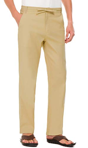 Janmid Men's Drawstring Casual Beach Trousers Linen Summer Pants Khaki - Drawstring Trousers