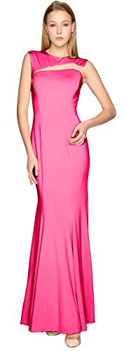 Party Gown MACloth Prom Simple Dress Evening Fuchsia Cut Jersey out Formal Sheath 8q7v6A