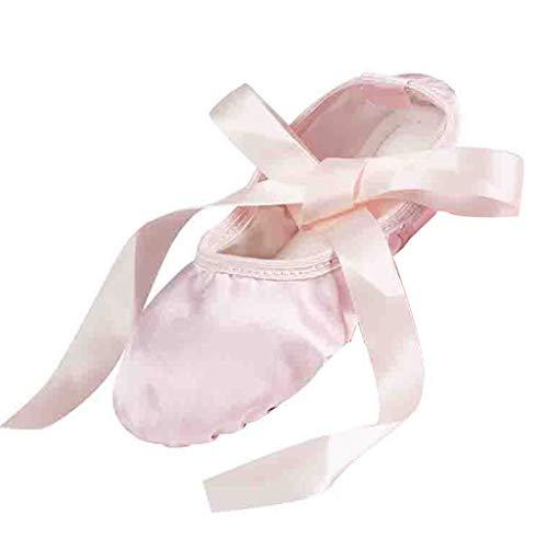 CCFAMILY Girls Fashion Ballet Ribbon Dance Shoes Ladies Satin SlippersWomen's Gymnastics Flats Split Sole Shoes Slippers