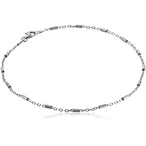 Sterling Silver Italian Diamond Cut Bar Station Anklet