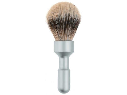 Merkur Futur Silvertip Brush, Satin Chrome Plated Handle