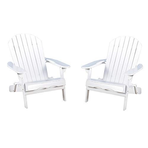 Christopher Knight Home 296699 Denise Austin Home Milan Outdoor Folding Wood Adirondack Chair (Set of 2), Set of Two, White