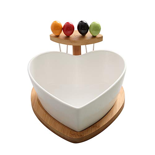 KEOA Heart-Shaped Dried Fruit Plate Ceramic, Salad Bowl with Fork Home Fruit Plate Living Room Candy Dish Snack Storage Basket Gift(White) Ceramic Basket Candy Dish