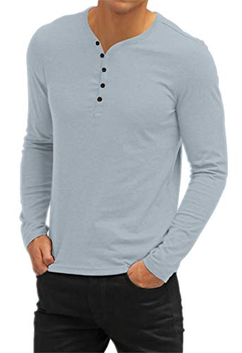 AIYINO Mens Casual V-Neck Long Sleeve T-Shirts/Long Sleeve Polo Shirts