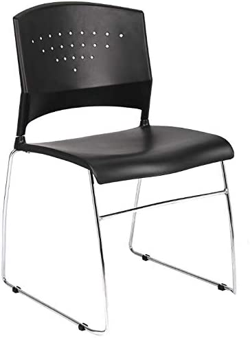 Black Stack Chair with Chrome Frame. Chair for Kitchen, Dining, Bedroom, Living Room Side, Party, Ivents, Banquets.