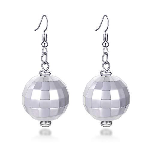 FUTTMI 4 Pairs of Disco Ball Dangle Earrings