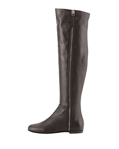Patent Side Womens Leather Knee Black High Over Boots AIWEIYi Heel Boots Black Zipper Long Flat AUqYq5Txw