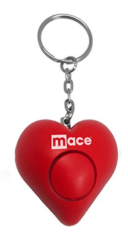 Mace Brand Personal Alarm Heart with Key Ring, Pull Pin Activation, and Test Button (Red)
