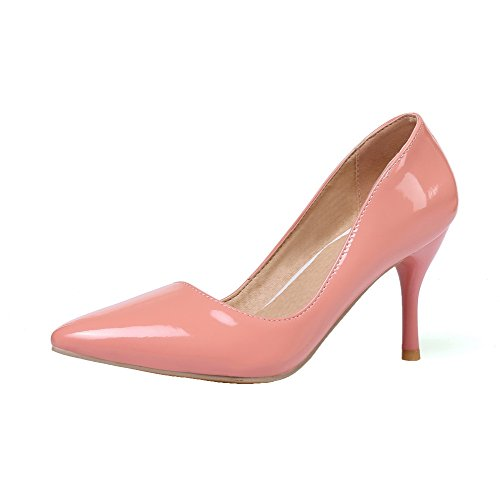 VogueZone009 Women's PU Solid Pull-On Closed-Toe High-Heels Pumps-Shoes Pink 3qL4rXrW