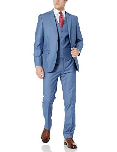 (Caravelli Men's 60530 3-Piece Single Breasted Slim Fit Vested Suit Powder Blue - 40 Regular)