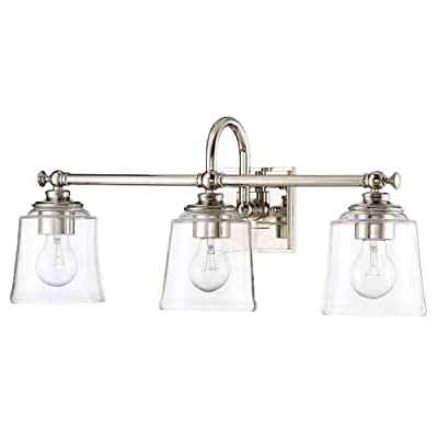 "Park Harbor PHVL3013PN Antonia 3 Light 25-1/4"" Wide Bathroom Vanity Light with Clear Glass Shades - Constructed from steel Comes with clear glass shades Requires (3) 33.33 watt medium (E26) bulbs - bathroom-lights, bathroom-fixtures-hardware, bathroom - 31N rE65T6L. SS400  -"