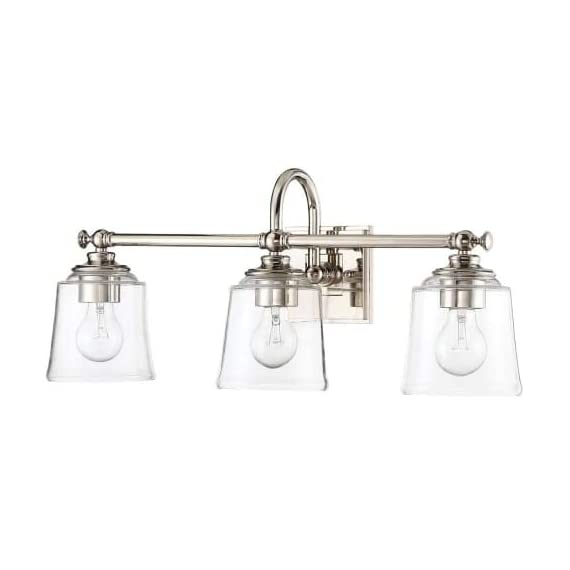 "Park Harbor PHVL3013PN Antonia 3 Light 25-1/4"" Wide Bathroom Vanity Light with Clear Glass Shades - Constructed from steel Comes with clear glass shades Requires (3) 33.33 watt medium (E26) bulbs - bathroom-lights, bathroom-fixtures-hardware, bathroom - 31N rE65T6L. SS570  -"