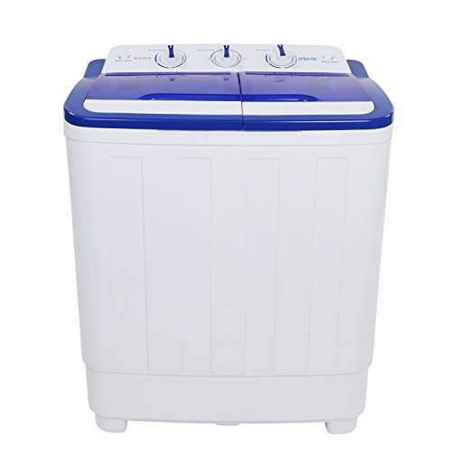 ROVSUN 16.6LBS Portable Washing Machine w/Twin Tub Electric Compact Washer, Energy/Space Saving, Laundry Spin Cycle w/Hose, Perfect for Home RV Camping Dorms College (Best Rated Stackable Washer Dryer)