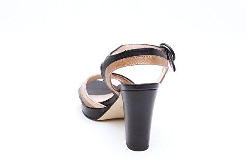 Scarpe italiane sandali tacco squadrato nero