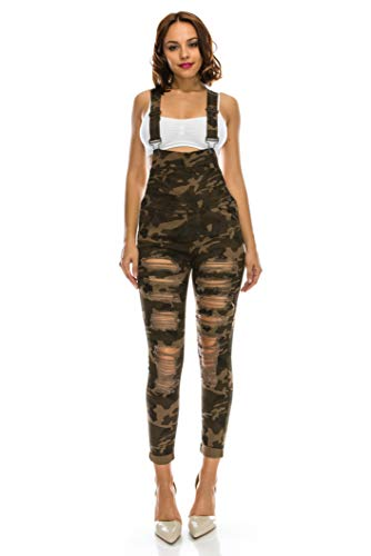 - TwiinSisters Women's Distressed Stretch Twill Overalls Size Small to 3X Multi Styles (Small, Camo #rjho424)