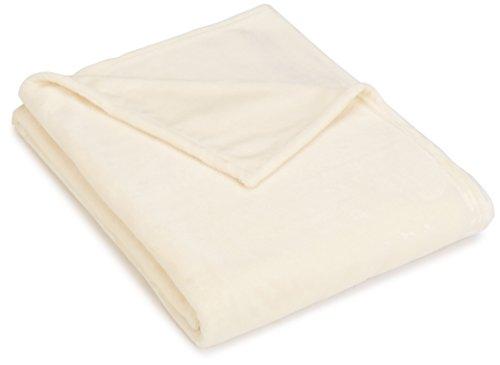 Pinzon Velvet Plush Blanket - Full/Queen Ivory