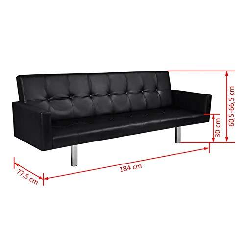 Zerone Canapé-Lit avec Accoudoirs, Canapé-Lit 3 Places Design 2 en 1 pour Salon Bureau Chambre à Coucher, Noir 184 x 77 x 60-66 cm