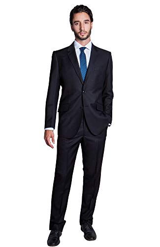 - Zeratova Men's Slim Fit 2 Pieces Italian Suit Two Button Wool Blazer & Trousers Smart Party Formal Suits - 40 Regular / 34 Pants - Black