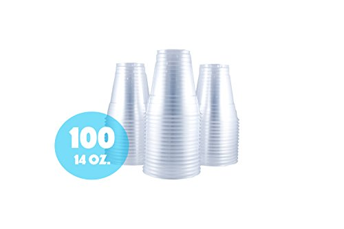 Clear Plastic Cup by HeloGreen | 14 oz. Crystal Clear PET Drinking Cup (100 count)