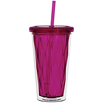 Gemstone Chiseled Double Wall 16oz. -Hot Cold- Acrylic Tumbler - Fuchsia