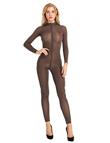 Agoky Women's One Piece See Through Mesh Sheer Long Sleeved Zipper Front Turtleneck Bodystocking Teddy Bodysuit Coffee Medium -