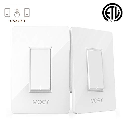3 Way WiFi Smart Wall Light Switch Wireless Remote APP Control From Anywhere Compatible with Alexa and Google Home Timer Function No Hub Require (3-Way Smart Switch Kit (2 Pieces))