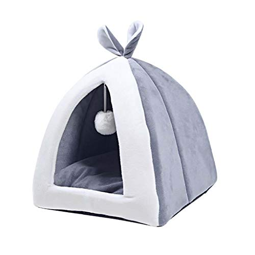 HOTRAIN Pet Cat Bed Triangle Tent House Cave Semi-Closed Rabbit Ear Cute Sleep Nest Foldable for Kitten Puppy Pet Supplies