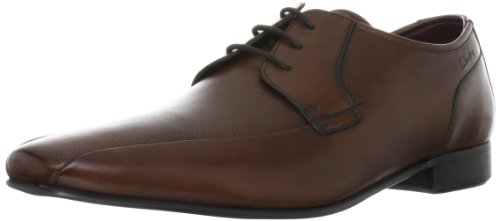 CLARKS Clarks Mens Shoe Chilton Lace Black Leather Marrón