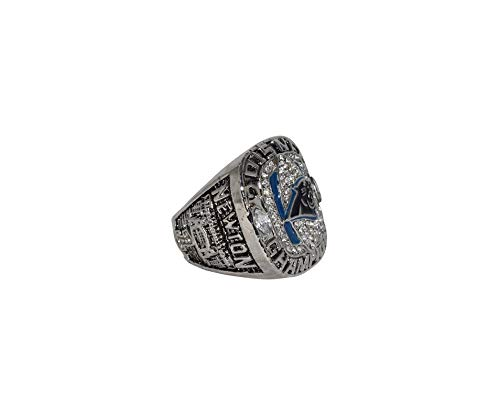 CAROLINA PANTHERS (Cam Newton) 2015 NFC WORLD CHAMPIONS (Keep Pounding) Super Bowl 50 Collectible Replica National Football League Silver NFL Championship Ring with Cherrywood Display Box