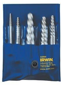 Irwin 53535 Hanson 5-Piece Spiral Flute Screw Extractor Set (EX-1 to EX-5)