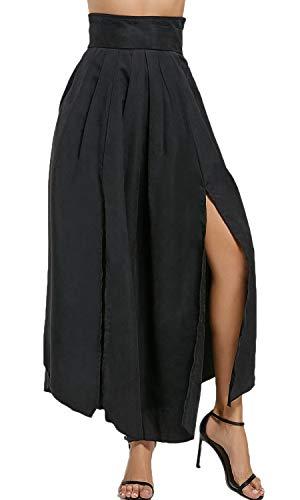 Bodycon4U Women's High Slits Bow Tie Summer Beach High Waist Shirring Maxi Skirt Pockets Black M by Bodycon4U (Image #1)