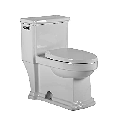 Whitehaus Collection WHMFL221-EB Magic Eco-Friendly One Piece Single Flush Toilet with Elongated Bowl 1.28 Gpf Capacity, White