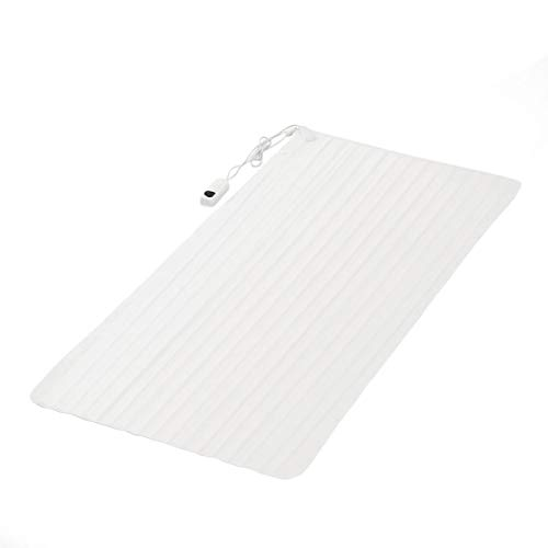 MamiTeam Heated Blanket Mattress Shield Life Electric Polyester Fibre Color White 5 Temperature Modes Thermal Control Type 8H Timer Cover Heating Warm Topper Winter Heat C Twin Size 75 x 35.5 Inche