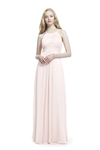 - Samantha Paige Criss-Cross Pleated Spaghetti Halter Chiffon Dress, Pink, 2