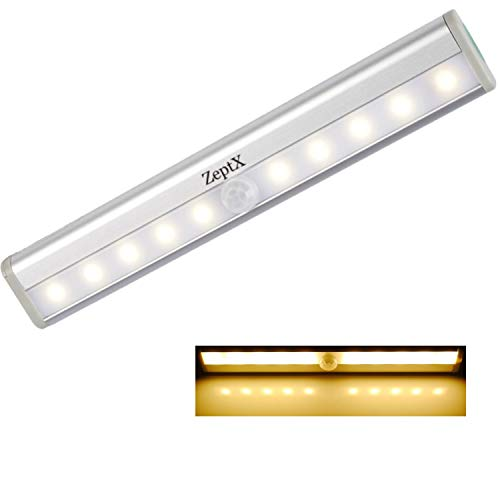 ZeptX Motion Sensor Closet Lights 10 Led Battery Operated Portable Wireless Night Lights Under Cabinet Stick on Indoor Stairs/Step/Kitchen with Magnetic Strip Warm White (1 Pack)