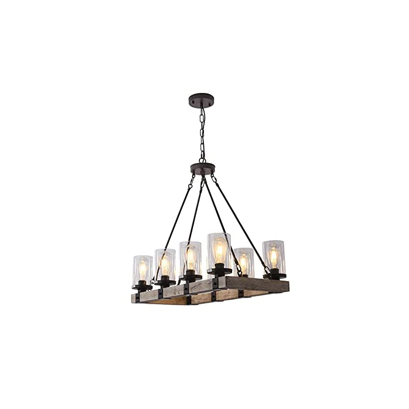 LIANSHUN 8-Lights Farmhouse Island Light for Kitchen, Vintage Wood Chandelier for Dining Room, Hanging Lighting with…