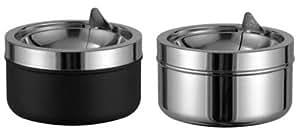 Toller-Cenicero/-Cenicero, metal negro/cromo 11,5cm de diámetro, H de 16048