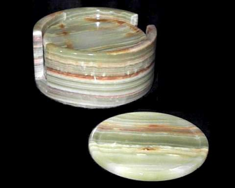 Extra Large Green Onyx Coasters, Stone Drink Coasters with Holder - Set of 6