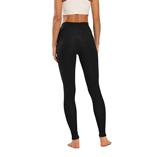 Houmous Women's High Waist Full-Length Yoga Pants Workout Pants 4 Way Stretch Leggings(Black,XXL)