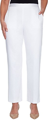 Alfred Dunner Charleston Pull-On Flat-Front Pants (White, 16S)