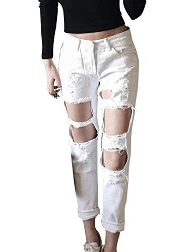 Pantaloni Yasminey A Dritto Jeans Moderni Strappati Vita Chic Casual Denim Alta Bianca Taglio Giovane WEE0rFq1y